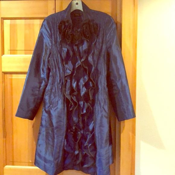 jerry t Dresses & Skirts - Midnight blue Jerry T silky dress coat!
